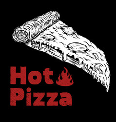 Pizza isolated on black design element for menu vector
