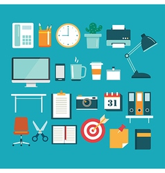 Set of office equipment icon flat design vector