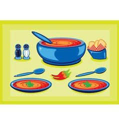 Cooking pot and plates vector