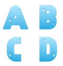 Alphabet with water drops vector image