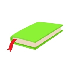 Green closed book with bookmark icon cartoon style vector