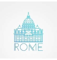 St peter s cathedral rome italy hand drawn vector