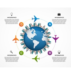 Abstract global airplane infographics design vector