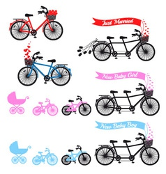 Baby shower with tandem bicycle set vector