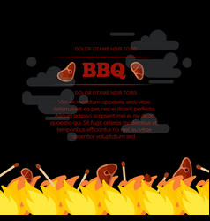 Bbq party poster design with fire and meat vector