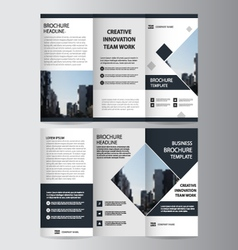 Black elegance business trifold leaflet brochure vector