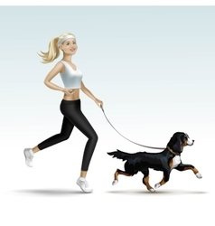 Blonde woman girl female jogging with dog vector