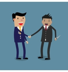 business partners handshaking knife vector image