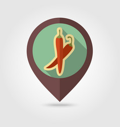 Chilli pepper flat pin map icon vegetable vector
