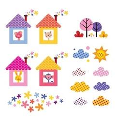 Cute animals in houses kids design elements set vector