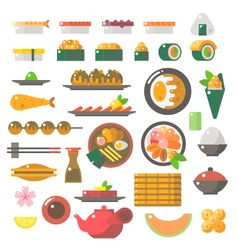 Flat design of sushi dishes set vector image vector image