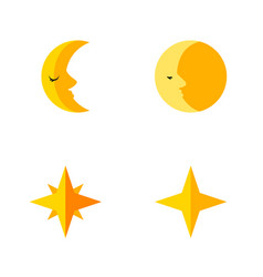 Flat icon bedtime set of asterisk lunar star and vector