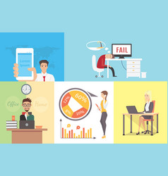 flat variety of business people at working place vector image vector image