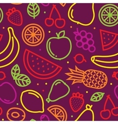 Fruits seamless pattern on purple vector image