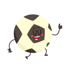 Funny football soccer ball character with smiling vector