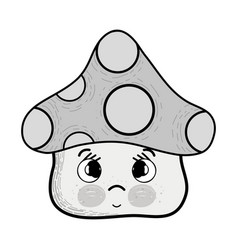 Grayscale kawaii fangus sad with cheeks and eyes vector