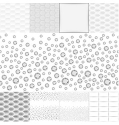 Grey white seamless background set vector