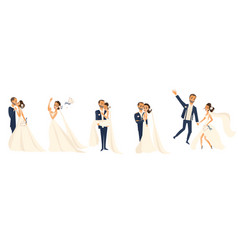 Happy wedding couple set cartoon bride and groom vector