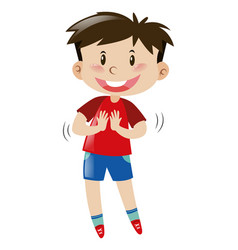 little boy in red shirt and blue shorts vector image