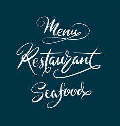 menu restaurant typography vector image vector image