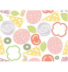Pizza ingredients simple seamless pattern white vector