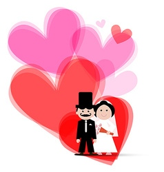 Red and pink hearts with bride and groom vector