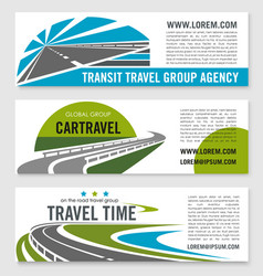 Road travel company banners set vector