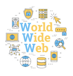 Round lineart concept world wide web vector
