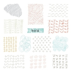 Set of hand drawn marker and ink patterns Simple vector image vector image
