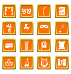 Theater icons set orange vector