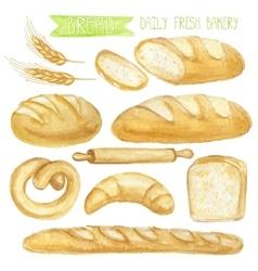 Watercolor bread set hand drawn vector