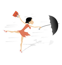 windy weather young woman and umbrella isolated vector image vector image
