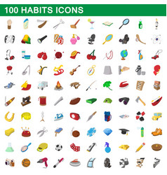100 habits icons set cartoon style vector image vector image
