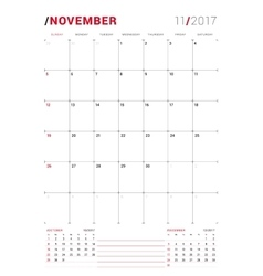 November 2017 print template monthly vector