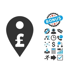 Pound map marker flat icon with bonus vector