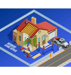Repair works isometric template vector