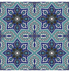 Arabesque seamless pattern in blue and turquoise vector