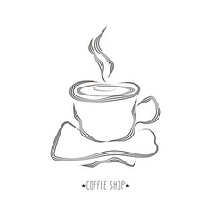 hand drawn cup of hot coffee vector image