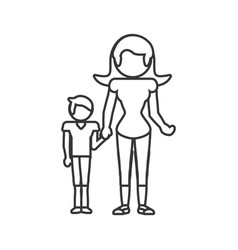 Mother and son relation outline vector