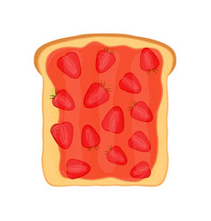 Fried bread toast with strawberry jam elly paste vector