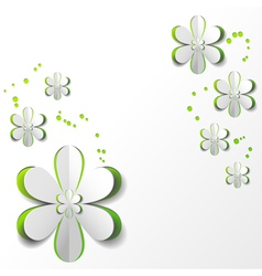 White Paper Flower in Green background vector image