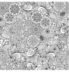 Round ornamental flower and leaves pattern vector