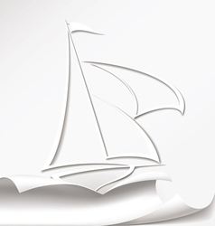 Yacht cuts the paper vector