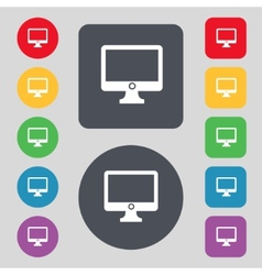 Computer widescreen monitor sign icon set colur vector
