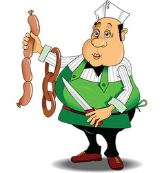 Chef with sausages cartoon vector