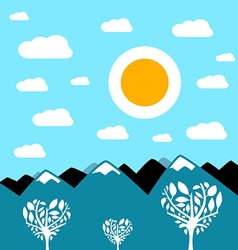 Flat design mountain landscape vector