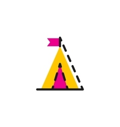 Color line icon for flat design camping vector
