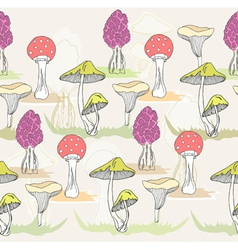 seamless colorful mushroom pattern vector image