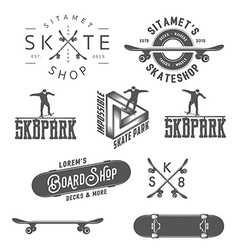 Set of skateboarding desin gelements vector image
