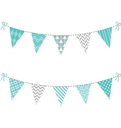 Aqua and grey bunting flag set vector
